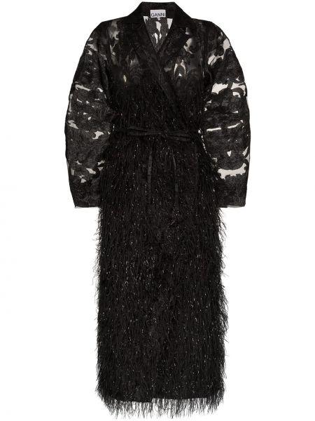 Нейлоновое черное пальто с капюшоном Ganni