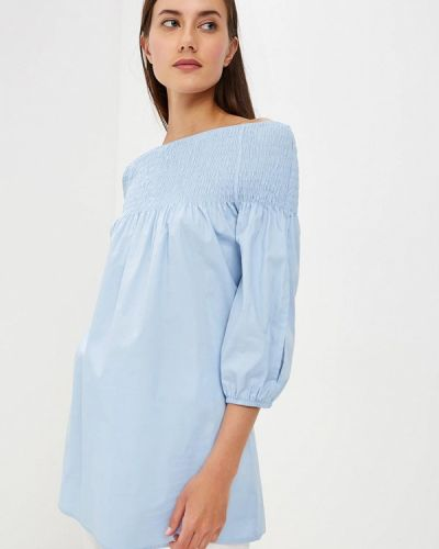 Блузка с открытыми плечами голубой итальянский Perfect J