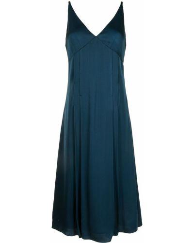 Платье миди атласное - синее Paul Smith