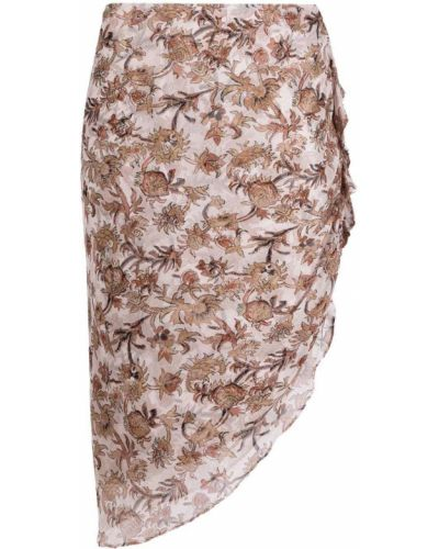 Розовая шелковая асимметричная юбка Veronica Beard