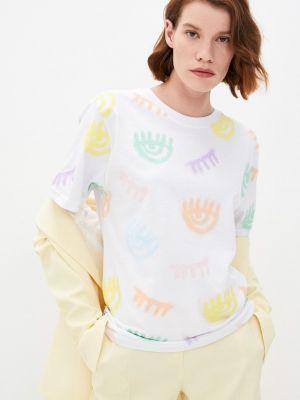 Белая зимняя футболка Chiara Ferragni Collection