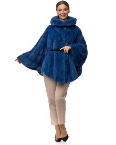 Синяя норковая шуба с капюшоном мосмеха