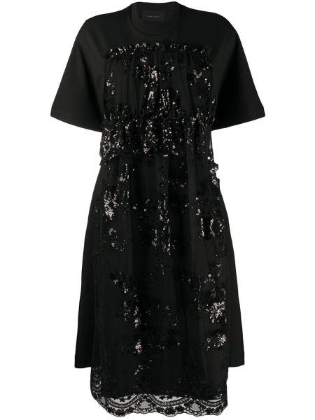 Черное расклешенное платье миди с пайетками с вырезом Simone Rocha