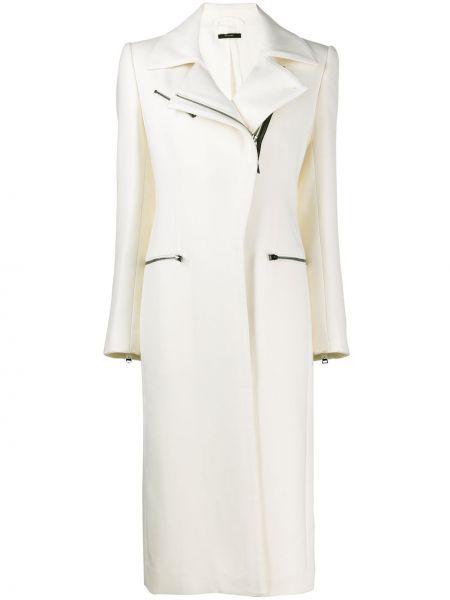 Шерстяное кожаное пальто на молнии свободного кроя с карманами Tom Ford