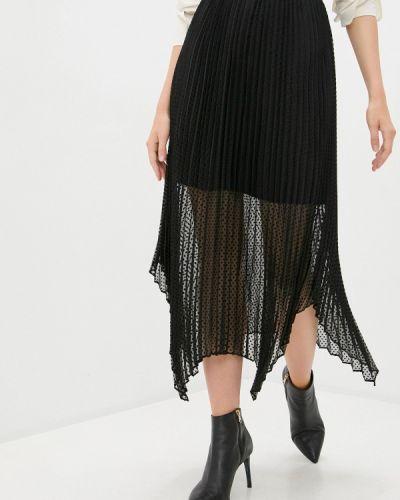 Плиссированная черная плиссированная юбка The Kooples