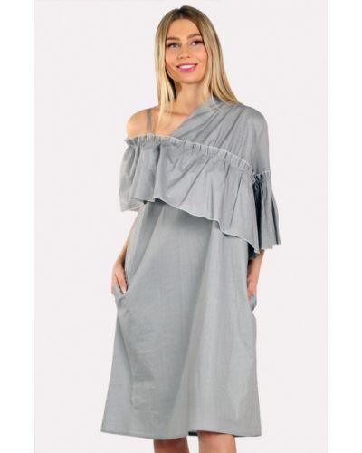Платье миди весеннее серое Panove