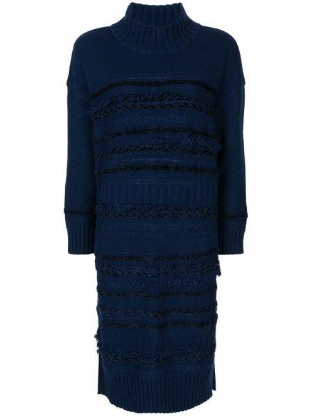 Синее платье миди в рубчик с воротником твидовое Coohem