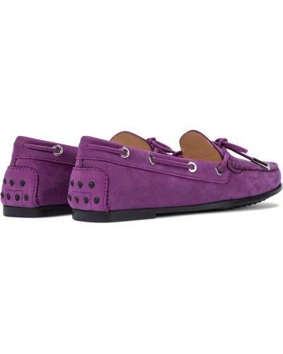 Городские фиолетовые замшевые лоферы Tod's