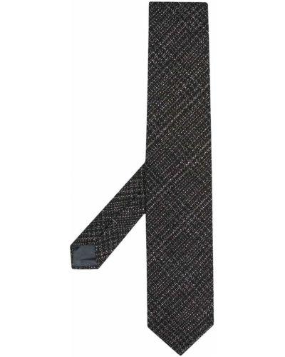 Jedwab czarny gumka do włosów z haftem Ermenegildo Zegna