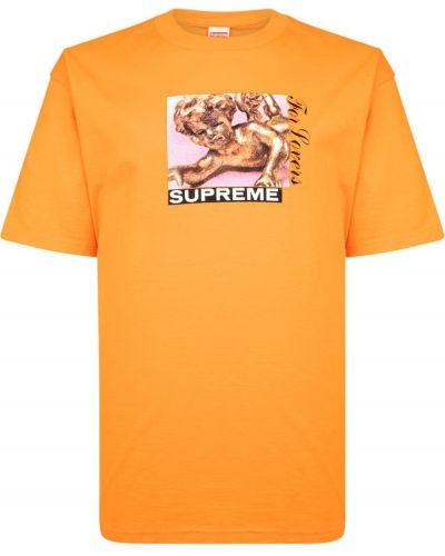 Pomarańczowa t-shirt bawełniana krótki rękaw Supreme