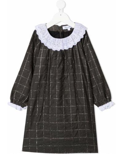 Темно-серое платье макси с длинными рукавами с воротником из вискозы Tartine Et Chocolat
