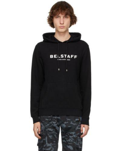 Czarna bluza długa z kapturem z długimi rękawami Belstaff