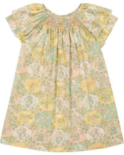 Ватное хлопковое желтое платье Bonpoint