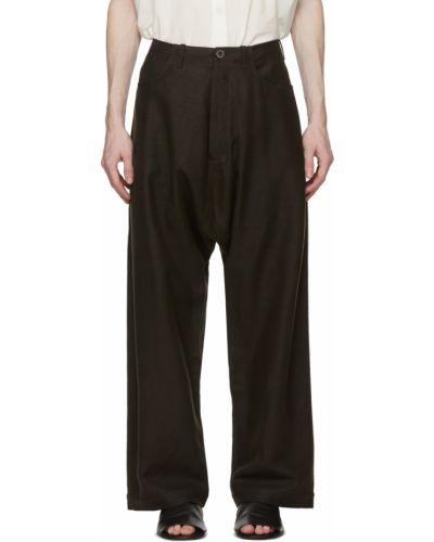 Brązowe spodnie z paskiem oversize Jan-jan Van Essche
