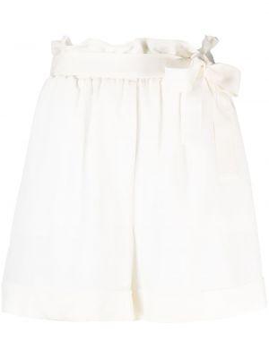 Шелковые белые с завышенной талией шорты Federica Tosi