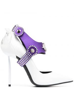 Кожаные белые туфли-лодочки на каблуке Le Silla