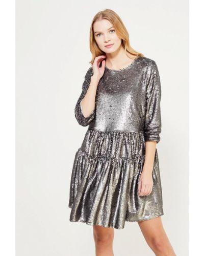 Серебряное вечернее платье Lost Ink Plus