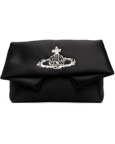 Czarna kopertówka srebrna z haftem Vivienne Westwood