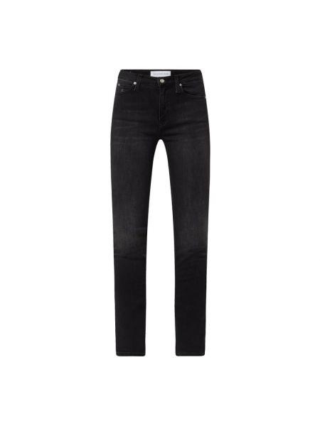 Czarne jeansy rurki bawełniane Calvin Klein Jeans