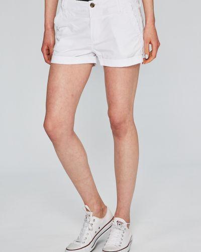 Джинсовые шорты белые с карманами Pepe Jeans