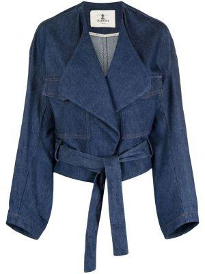 Хлопковая синяя джинсовая куртка с поясом Barena