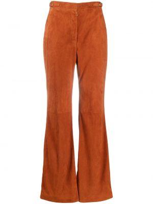 Pomarańczowe spodnie skorzane rozkloszowane Gabriela Hearst