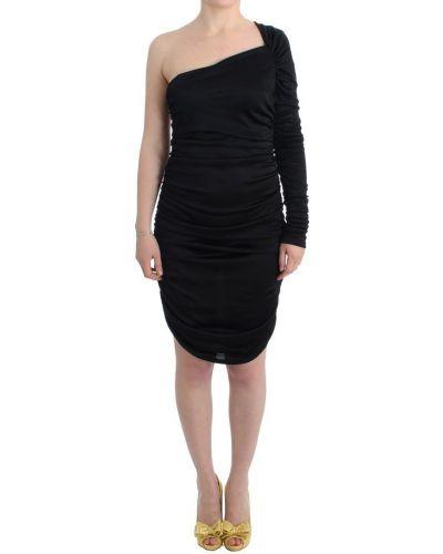 Czarna sukienka midi z wiskozy Gf Ferre