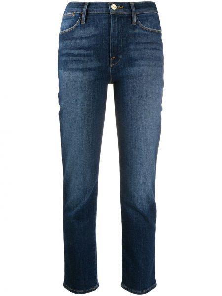Хлопковые синие с завышенной талией укороченные джинсы на молнии Frame