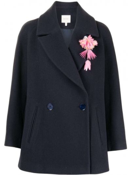 Синее шерстяное длинное пальто свободного кроя Delpozo