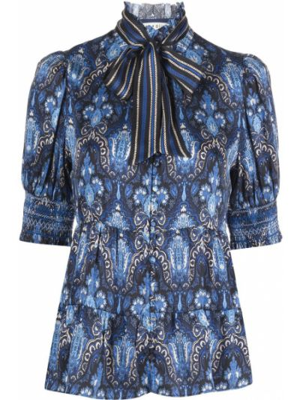 Шелковая рубашка - синяя Alice+olivia