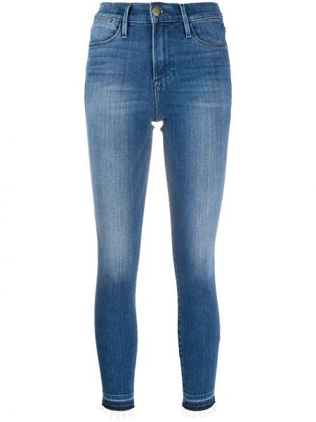Хлопковые зауженные джинсы-скинни с поясом Frame