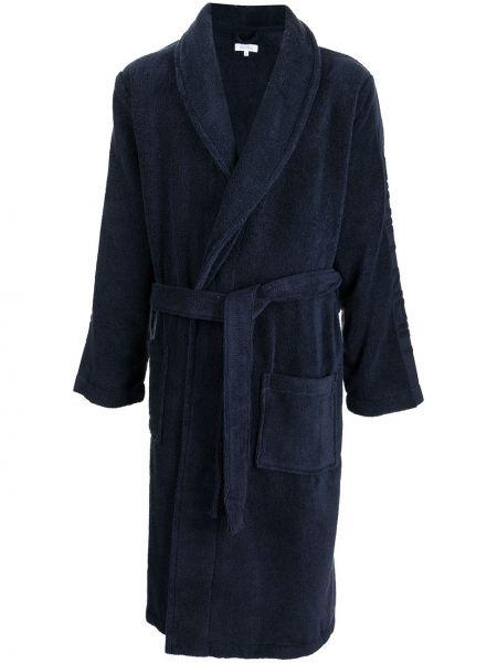 Długi szlafrok bawełniany - niebieski Calvin Klein