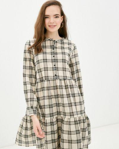 Бежевое платье-рубашка B.young