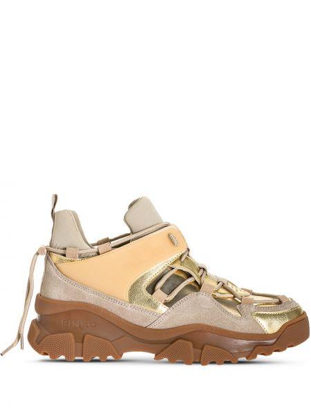 Кожаные высокие кроссовки на шнуровке с перфорацией Pinko