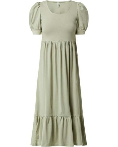 Zielona sukienka mini rozkloszowana z falbanami Only