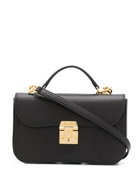 Золотистая черная кожаная сумка на молнии с карманами Mark Cross