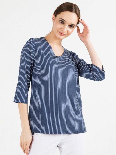 Блузка с длинным рукавом синяя весенний Remix