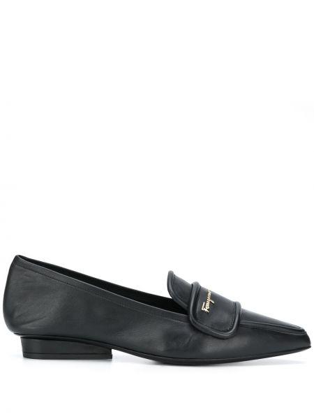 Черные кожаные лоферы на каблуке Salvatore Ferragamo