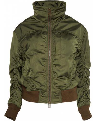 Куртка с капюшоном укороченная зеленая Vince.