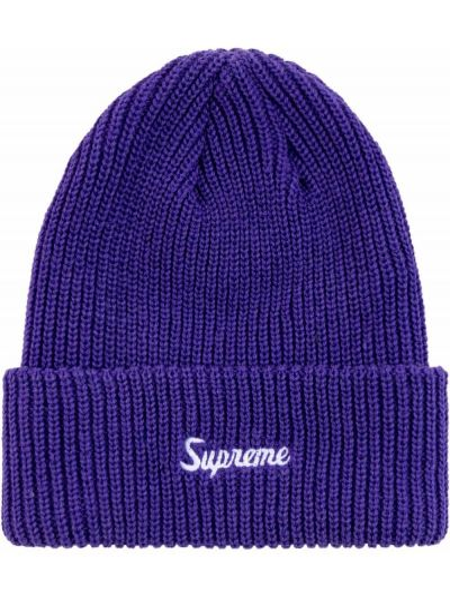 Fioletowa czapka z haftem Supreme