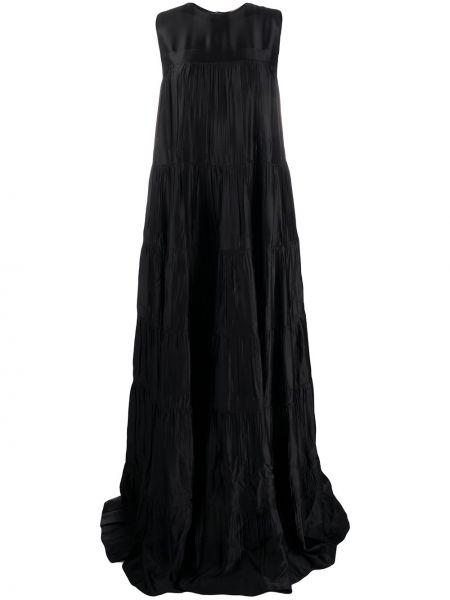 Платье макси со складками черное N21