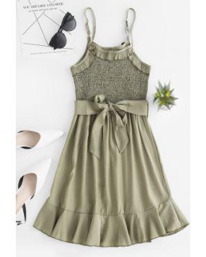 Платье с поясом с оборками Zaful