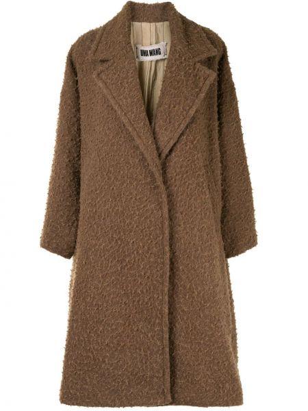 Коричневое длинное пальто из альпаки оверсайз Uma Wang