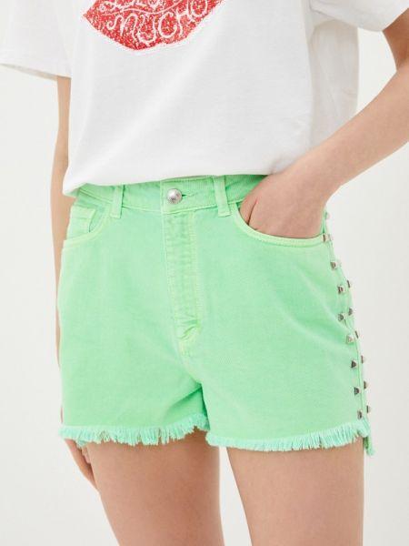 Зеленые джинсовые шорты со стразами Sh