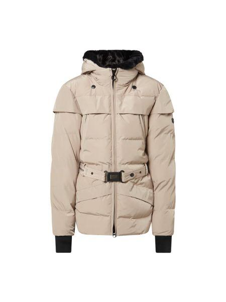 Beżowy kurtka z kapturem z mankietami z kieszeniami z zamkiem błyskawicznym Wellensteyn