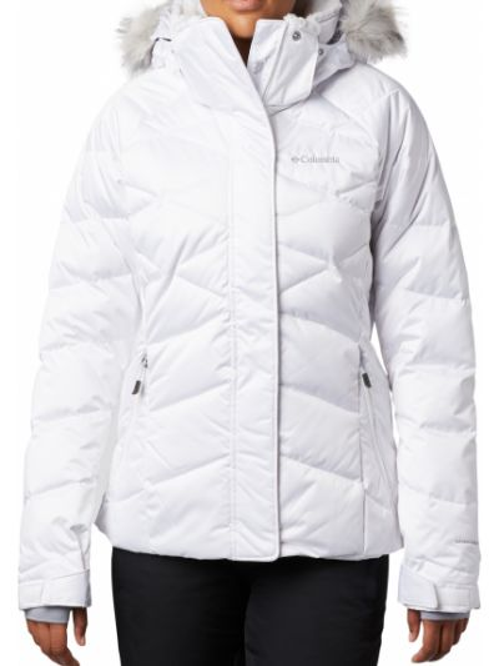 Пуховая брендовая белая куртка Columbia