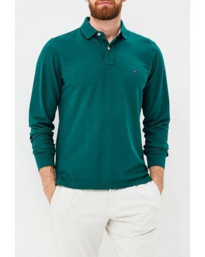 Зеленое поло с длинным рукавом Tommy Hilfiger
