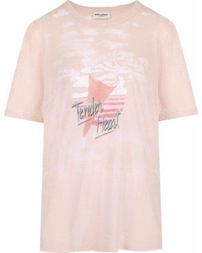 Свободная футболка с надписями Saint Laurent