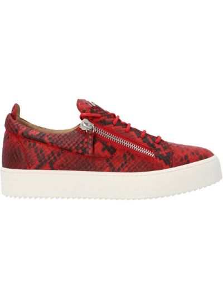 Czerwone sneakersy skorzane na niskim obcasie Giuseppe Zanotti