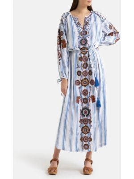 Платье миди с вышивкой восточное La Redoute